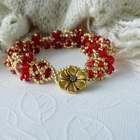 Ruby Red Crystals and Gold Beaded Bracelet Czech Glass Bead Bracelet Holiday Bracelet Evening Jewelry Gift for Her