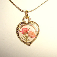 Babys Breath Real Pressed Flower Heart Gold Necklace