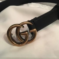 Authentic NEW GUCCI Marmont Double G BLACK Belt Size 85cm