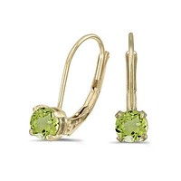 14K Yellow Gold Round Peridot Lever-back Earrings ( 4mm 1/2ct tw)