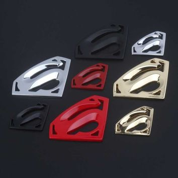 Dengyao 3D 3M chrome emblem Auto logo Motorcycle accessories Funny car stickers Superman badge metal Universal Car styling
