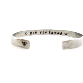 Gifts for Friends | Gifts for Her | Teen Gifts | Daughter Gifts | Sister Gifts | You are loved... Custom Stamped Bracelet by Timeless Maiden