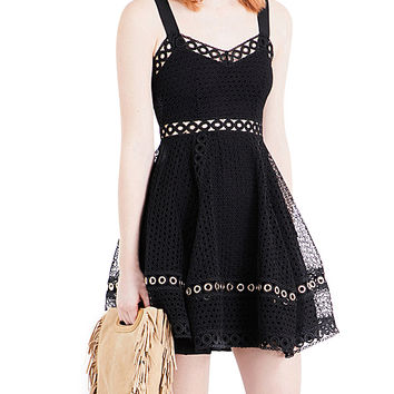 Black Sweetheart Cutwork Lace Skater Dress