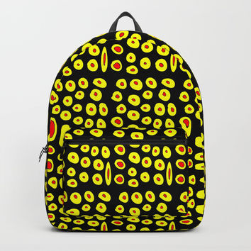 red and yellow polka dot- polka,polka dot,dot,pattern,circle,disc, point,abstract, minimalism Backpack by oldking