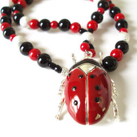Ladybug Necklace, Statement Jewelry