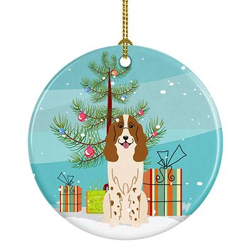 Merry Christmas Tree Russian Spaniel Ceramic Ornament BB4156CO1