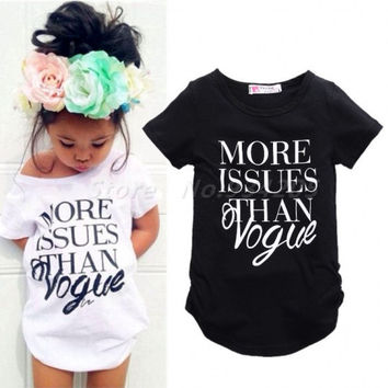 New Brand 2016 Summer Clothing T-shirts Kids Baby Girls Letter Short Sleeve Tees Cotton T-shirt Tops Casual White Black
