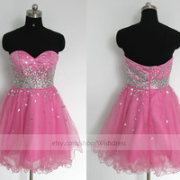 Handmade Sequins Sweetheart Fuchsia Tulle Organza Short Prom Dress/ Cocktail Dress/ Homecoming Dress /Sweet 16 Dress By Wishdress