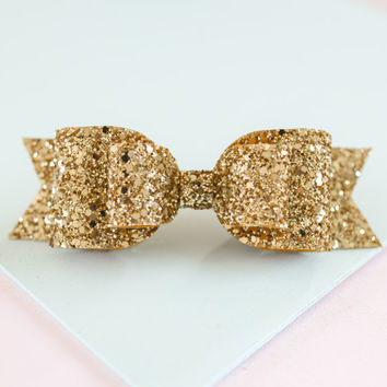 Oversized Large Bright Gold glitter fabric bow hair clip!!! For children and Adults