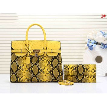 Hermes New fashion snake texture print leather shoulder bag women handbag 2#