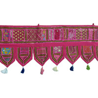 Pink Indian Handmade Patchwork Window Tapestry Valance