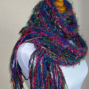 Multicolored Scarf Hand Spun Yarn Ribbon Accents