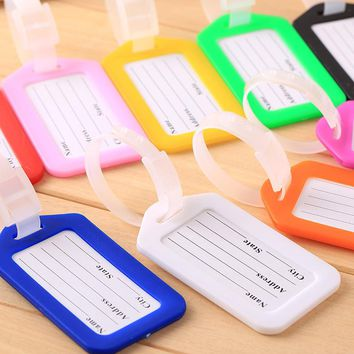 50 pieces Travel Accessories Luggage Tag Creative Solid Hard PVC Plastic Aircraft Baggage Claim Tag