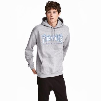 DCCK2 619 Thrasher Flame logo printed letters loose Pullover Hoodie with velvet pocket cotton jacket Gray