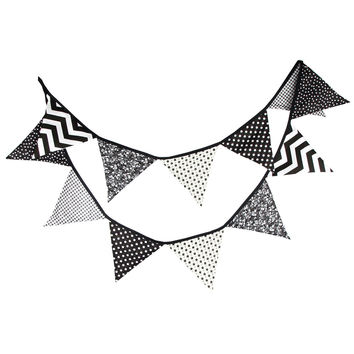 1PC 3.2m 12 Flags Banner Pennant Cotton Cloth Wedding Party Decoration Pennants Bunting Banner Black White Wave Stars