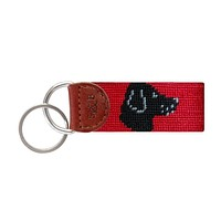 Black Lab Head Needlepoint Key Fob by Smathers & Branson