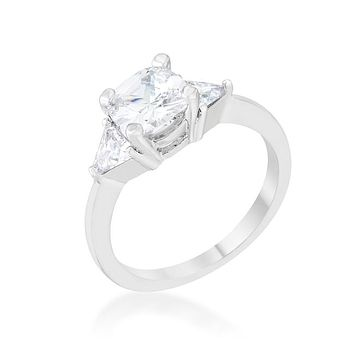 Helena - Women's Rhodium Plated Brass Engagement Ring With Clear Cushion Cut CZ Stone