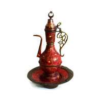 Old copper EWER PITCHER SAUCER dish set - Crescent star finial lid - Decorative coffee, water jug - Oriental home decor - Crimson red urn