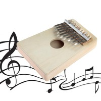 Hot 10 Keys Kalimba Mbira Likembe Sanza Thumb Piano Pine Light Yellow Instrument free shipping