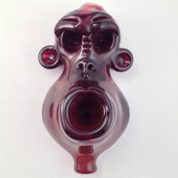 Red Monkey Hand Blown Glass Pipe
