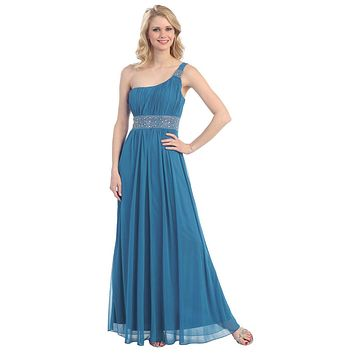 Ankle Length One Shoulder A Line Teal Formal Dress