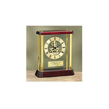 Personalized Anniversary Wedding Retirement Gift Table Desk Engraved Clock Enclosed Metal Brass Corners Da Vinci Dial Gold Engraving Plate