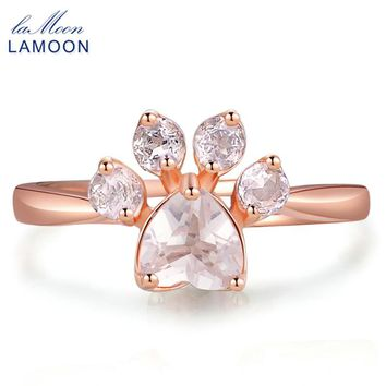 LAMOON Cute Bear's Paw Foot Print Rings For Women Natural Pink Rose Quartz 925 Sterling Silver Fine Jewelry Lovely Ring RI027