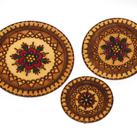 Vintage Handcarved Brown Wooden Plates Set of 3 Woodburning Pyrography Polish Decorative Round Ornament Plate Polish wooden wall hanging 60s