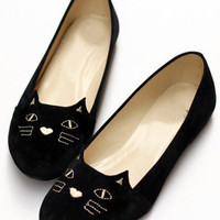 Black Cat Print Round Toe Flats -SheIn(Sheinside)