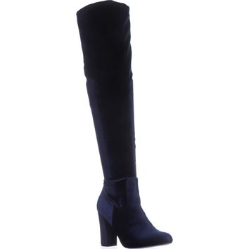 madden girl Felize Slouch Over-The-Knee Boots, Navy, 7 US