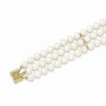 14K Yellow Gold 6-6.5Mm 3 Strand Cultured Pearl Bracelet