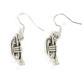 Trumpet Dangle Earrings Vintage Silver Tone EG15 Musical Instrument Fashion Jewelry