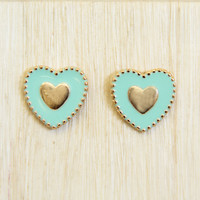 Mint Heart of Gold Stud Earrings