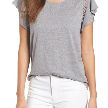 Caslon® Flutter Sleeve Crochet Detail Top (Regular & Petite) | Nordstrom