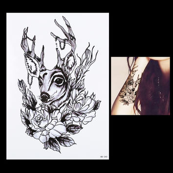 1 Sheet Sexy Body Arm Art Temporary Tattoo Sticker HB340 Product Women Men Deer Flower Deer Antler Pendant Picture Design Tattoo