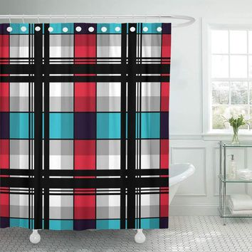 Irish Checkered Blue & Red Plaid Shower Curtains Hooks Included