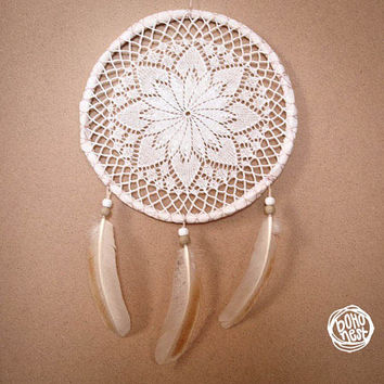 Dream Catcher - Mandala of Nature - Unique Dream Catcher with White Handmade Crochet Web and Brown Feathers - Mobile, Home Decor, Decoration