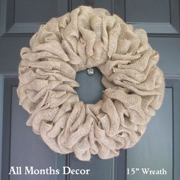 Simple Burlap Wreath, Natural Rustic Country, Spring Summer Fall Winter, DIY Year Round, Porch Door Decor