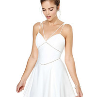 White Strappy Backless Sheath Mini Skater Dress