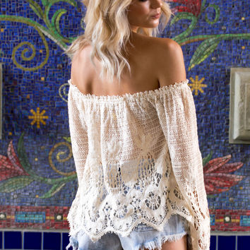 Moonlight Gypsy Crochet Off Shoulder Top- Nautral