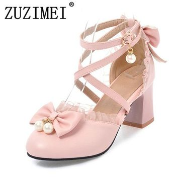 High Heels 2018 Women Lolita Shoes Ankle Strap Pumps Spring Bow Pearls Lace Shoes High Heels Party Shoes Big Size  44