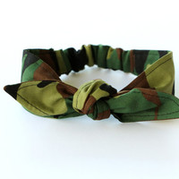 Baby Toddler Headwrap, Pre-tied Headscarf,Camo Army Green, Baby Photo Prop, Baby Knotted Headband, Baby Costume