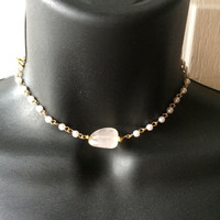 Pearl rosary chain chocker necklace