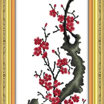 Red Plum Announcing Spring Come DMC Cross Stitch Kit Art Crafts Accurate Printed Embroidery DIY Handmade Needle Work Home Decor