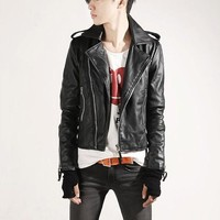 New Hot Men's Slim Top Designed Sexy Punk PU Leather Short Jacket Coat 1 color