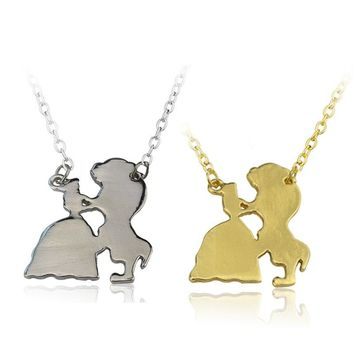 2017 Cartoon Comic Beauty And The Beast Pendant Necklace Belle Princess And Prince Shape Gold Color Charms Necklace Jewelry