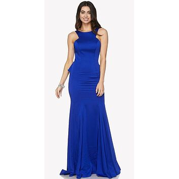 Royal Blue Fit and Flare Evening Gown Cut Out Back with Ruffles