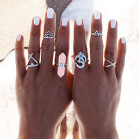 Vintage Punk Ring Set Hollow Antique Silver Plated Lucky Midi Rings  Gypsy Adjustable Knuckle Ring