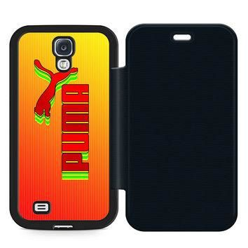 Puma Logo Leather Wallet Flip Case Samsung Galaxy S4