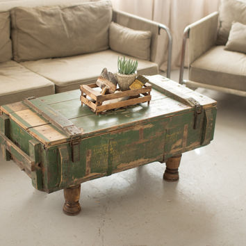 "Kalalou 42"" antique Artillery Wooden box Coffee Table NKK1175"